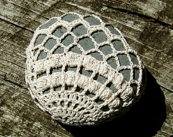 Clam Shell Sea Stone Paperweight crocheted lace fiber art