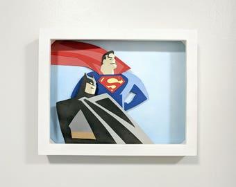 Batman and Superman Paper Art Shadow Box 8x10