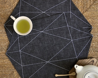 Gem placemats – black denim fabric with white stitching – modern, geometric pattern – set of 2