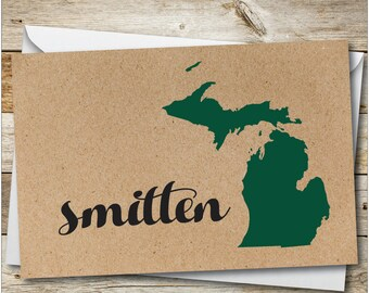 Michigan gift cards etsy michigan smitten card michigan greeting card custom card michigan home card greetings m4hsunfo Images