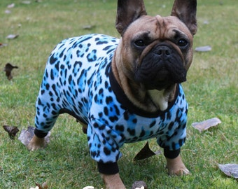 CLEARANCE Blue Leopard Print Dog Fleece- last one size Small only