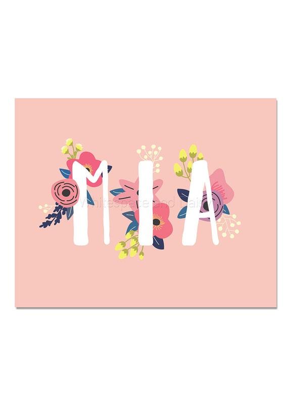 Mia Baby Name Wall Art Mia Baby Name Sign Mia Party Printable