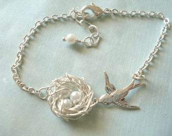 Bird Nest Bracelet Silver Birdnest with Pearl Bracelet Bird Nest Jewelry