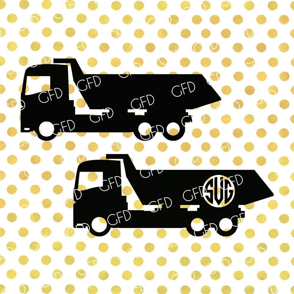 Dump Truck Monogram Frame SVG Clipart Dumping