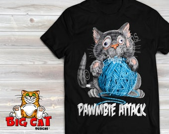 Pawmbie Attack.  Black, White or Gray Color.  Zombie Cat. Funny Halloween Cat Shirt.  Cat Lover Gift.  Halloween Cat Shirt.