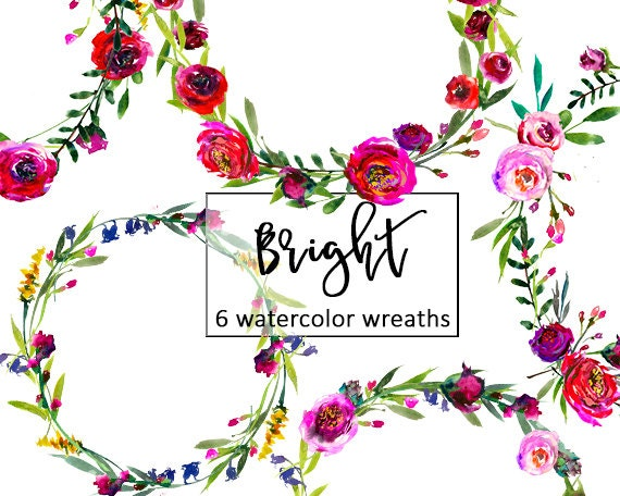 burgundy floral wreaths clip art watercolor flowers pink red rh etsy com