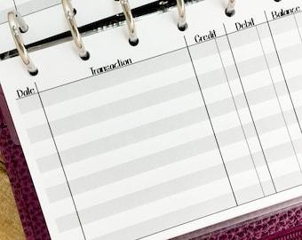 Pocket Checkbook Register printed planner insert - finances - record keeping - check statement
