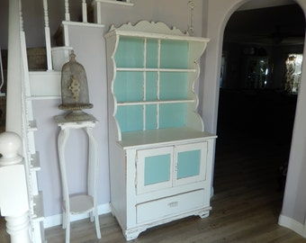 White Hutch Cabinet   Shabby Cottage Chic   Painted Vintage Hutch   Antique  Hutch Cabinet