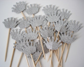 Glitter Silver Crown Cupcake Toppers, Baby Shower Party Decorations - No537