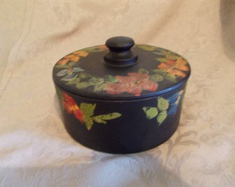 Vintage Black Floral Coverd Dish (1221)