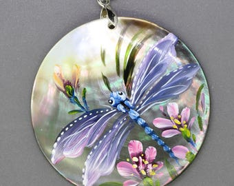 Hand painted  dragonfly, Hand painted pendant, Hand painted necklace,, Painting dragonfly, Shell painting dragonfly.