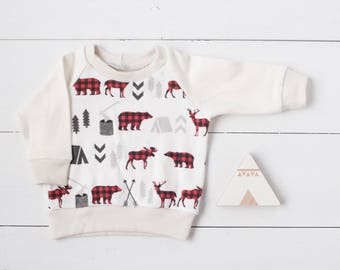 Baby sweatshirt, toddler sweatshirt, organic baby clothes, Woodland