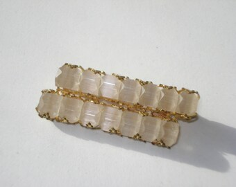 Vintage Lucite Bar Brooch - Gold Filigree Fashion Jewelry  Pin - 1960s
