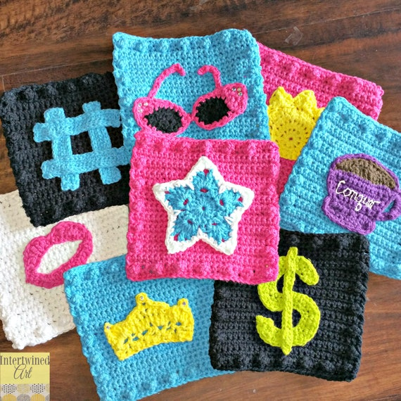 Crochet PATTERN Star Applique Granny Square PATTERN: Like a BOSS ...