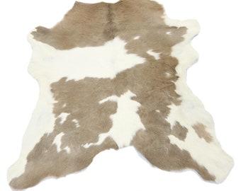 Light Taupe Calfskin Rug Natural Cowhide Rug 3 x 3 ft - Calf Hair on hide