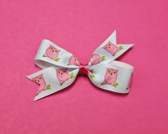 Pink Owl Hair Bow - Pink Owl Pinwheel Hair Bow - Pink Owl