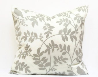 Gray Pillow Cover, 16x16 Pillow Cover, Decorative Pillows, Spring Accent Pillows, Cushion Covers, Botany Flora Taupe