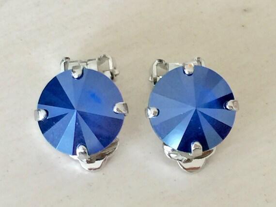 Royal Blue Crystal Clip On Earrings