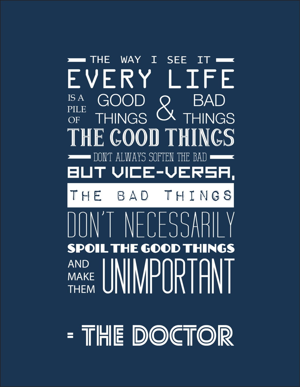 Inspirational Qoute Doctor Who Inspirational Quote Typography Print