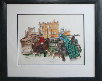 Belvoir Castle mixed media montage painting