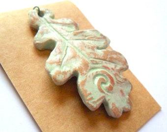 Rustic Distressed Green Glaze over Terra Cotta Kiln Fired Oak Leaf Pendant Finding