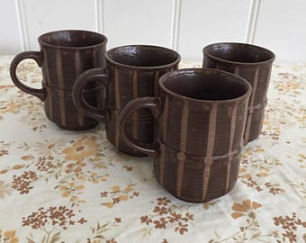 Vintage Made in Japan Brown Toned Coffee Mugs