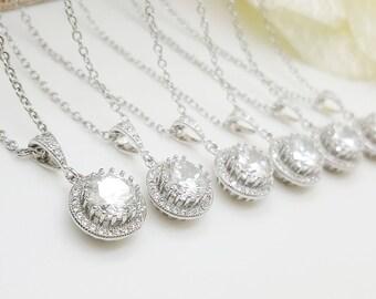 Full Halo Cubic Zirconia  Necklace, Bride Bridesmaid Necklace gifts- Set of 3,4,5,6,7,8,9,10,11,12