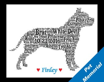 Pet Memorial,Custom Pet Memorial, Dog  Name Memorial, Pet Memorial, Custom Memorial, Dog Print Memorial, Memorial Gift,Dog Name Memorial