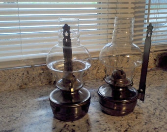 Oil lamps, hanging wall sconces, Set of 2, Cabin decor, Hurricane Lamp