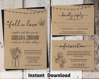 Fall Wedding Invitation Template - Rustic Fall Floral Leaves Mason Jar Fairy Lights Printable Set - Kraft Paper - PDF Instant Download Suite