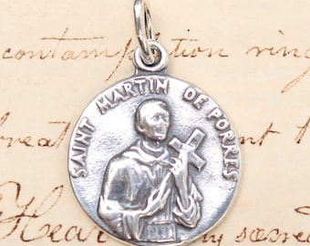 St Martin de Porres Small Medal - Patron of Racial Equality, Mixed Race relations and barbers - Sterling Silver Antique Replica