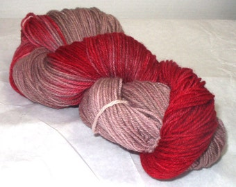 Superwash Merino Worsted  Wt  Wool  Yarn  Hand Dyed WoolYarn Multi Colored /Variegated Red / Brown /Merino Yarn Hand Dyed
