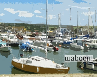 "Digital download photography,""Boats in the harbour"",instant download,printable, wall art,home decor, office decor"