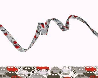 Bias Liberty Cars red and silver x 50 cm, Ribbon liberty cars
