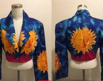 Sale • VERSUS VERSACE jacket by Gianni Versace jacket stunning vintage MID-90s versace cropped jacket golden sun soleil prints blazer jacket