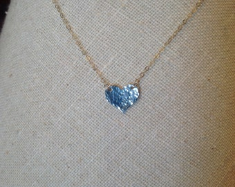 Hand Hammered Sterling Silver Heart Necklace on Gold Filled Chain