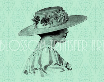 Woman - Lady - Hat - Digital graphics - Download for papercrafts, transfer to pillows, iron on burlap, totes - DIY - 1730