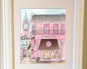 Travel Themed Nursery Print, London Nursery Art,  London Cake Shop, Customized Girl's Name, Personalized Girl Baby Shower Gift, London Girl