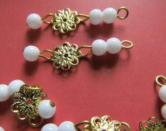 Vintage Glass Beads (10) White & Brass Bead Drops Dangles Charms Connectors
