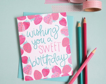 Happy Birthday, Wishing you a sweet birthday, Celebrate strawberries Birthday Card, Girl, watercolor, Greeting Card, strawberry, make a wish