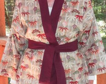 Haori Happi Coat Hip Length Kimono Jacket with pockets - BAMBOO, Burgundy. Mother's Day, Birthday