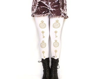Pocketwatch and Keys Print Tights All Sizes Gold on White Alice in Wonderland Dolly Kei Steampunk Lolita Pocket Watch
