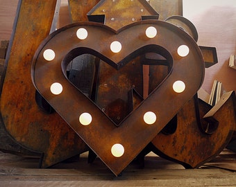 Black Heart. (Marquee Relic // Rusted // Patina // Fun Fair Sign & Light // Vintage themed // Wedding // Distressed // Home lighting)