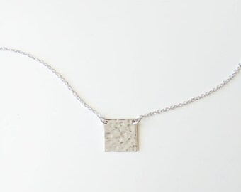 Square hammered pendant necklace, silver square necklace, hammered square necklace, tiny square necklace, geometric necklace