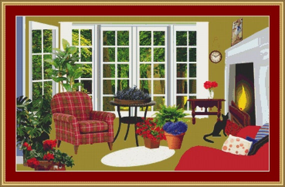 Cat In The Living Room Cross Stitch Pattern /Digital PDF Files /Instant downloadable