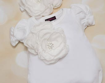 Baby Girl Bubble White Infant Layette Cotton Baby Romper with Large Chiffon On The Chest and Matching Headband