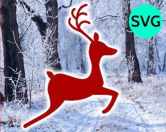 Jumping Reindeer Silhouette SVG file to print & cut with Cricut - Rudolph Reindeer SVG design - Christmas SVG files - 2 legs reindeer