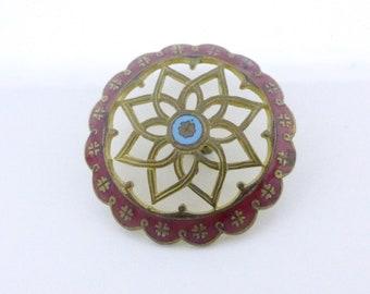 Vintage Enamel Open Pierced Metal Button - Red Champleve Enamel Border Button