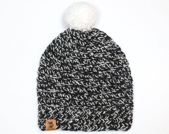 Winter Hat - Dark Grey & White - Handmade Crocheted Hat