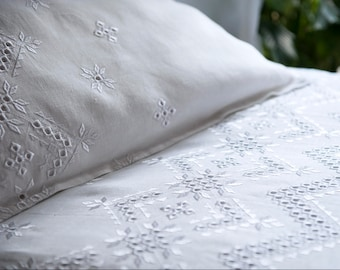 White Embroidered Linen Bedding Set Pure  Linen White on White Embroidery Ukrainian Cutwork Embroidery Wedding  Bedding Set